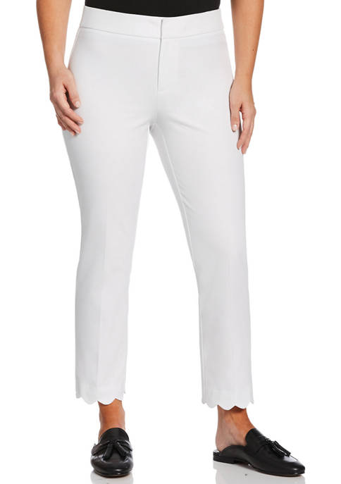 Rafaella Petite Bi Stretch Scallop Ankle Pants