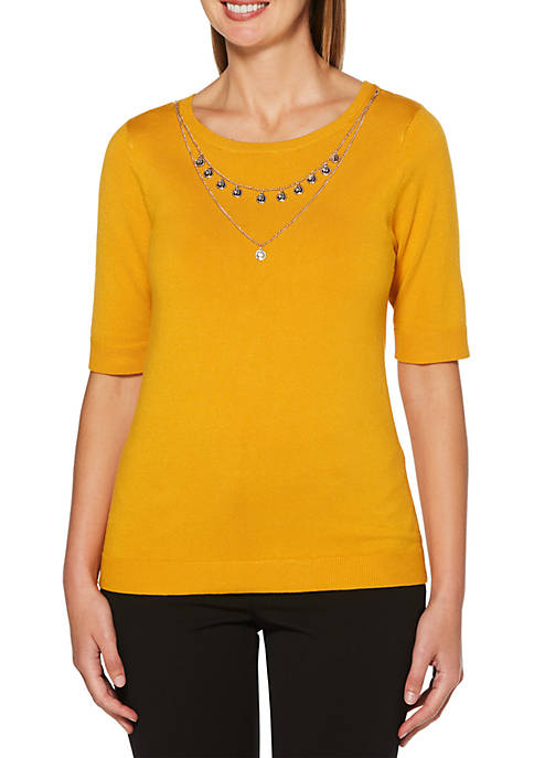 Petite Sweater with Medallion Necklace