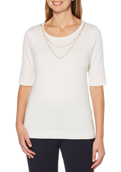Petite Elbow Sleeve Fine Sweater with Necklace