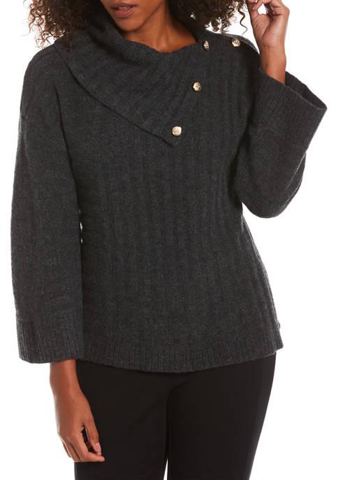 Petite Split Drape Neck Sweater