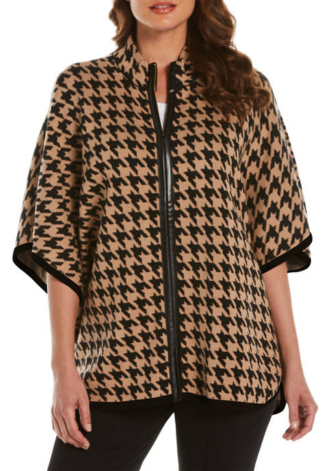 Petite Houndstooth Poncho Sweater