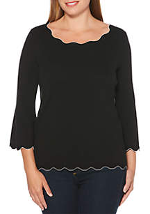 Rafaella Petite Scallop Pullover Sweater