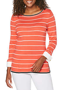 Rafaella Petite Striped Pullover with Woven Detail Top