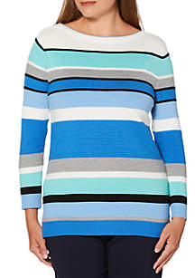 Rafaella Petite Engineered Stripe Sweater