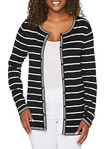 Rafaella Petite Striped Cardigan