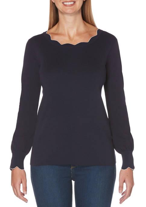 Petite Blouson Sleeve Scallop Sweater