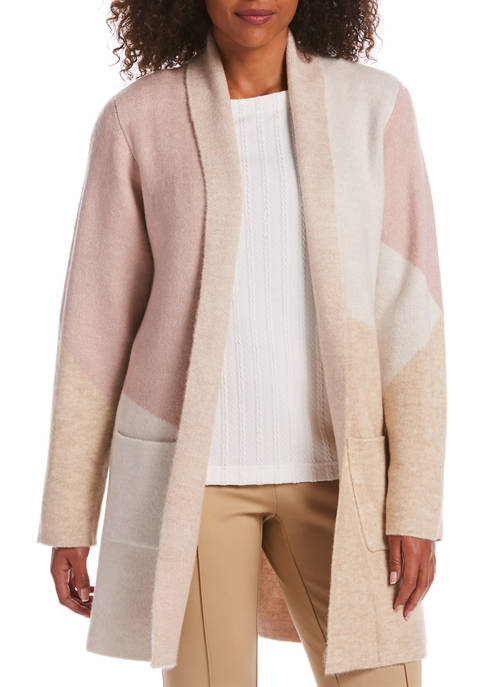 Petite Shawl Collar Color Block Cardigan