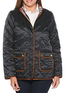 Petite Floral Print Reversible Puffer Jacket