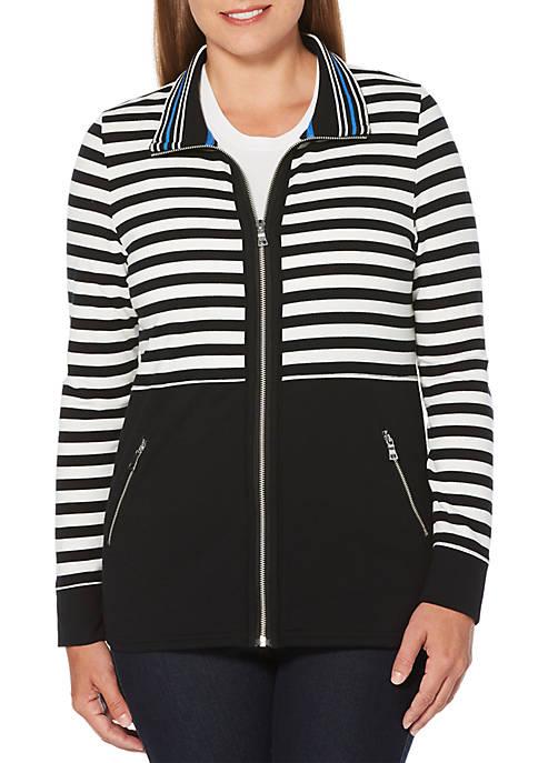Rafaella Petite Yarndye Stripe French Terry Jacket