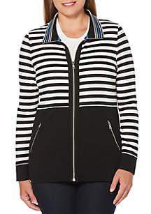 Petite Yarndye Stripe French Terry Jacket