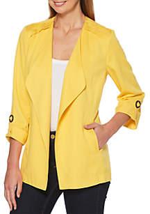 Rafaella Petite Tab Sleeve Solid Blazer Jacket