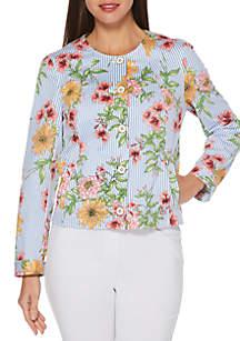 Rafaella Petite Twill Floral Print Stripe Jacket