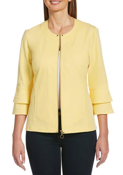 Petite Fashion Ruffle Sleeve Completer Jacket