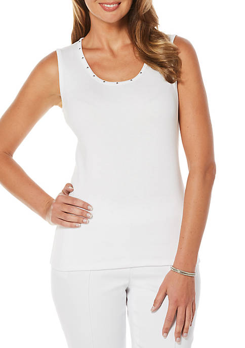 Rafaella Petite Size Sleeveless Tank With Embellishments