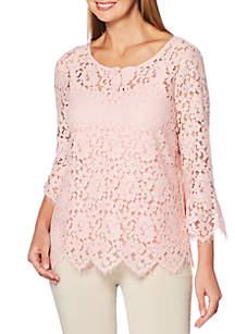 Petite Lace Knit Top