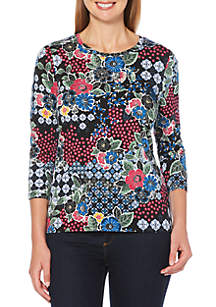 Rafaella Petite Floral Medallion Crew Neck Top