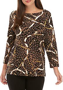 Rafaella Petite Leopard Status Print Top