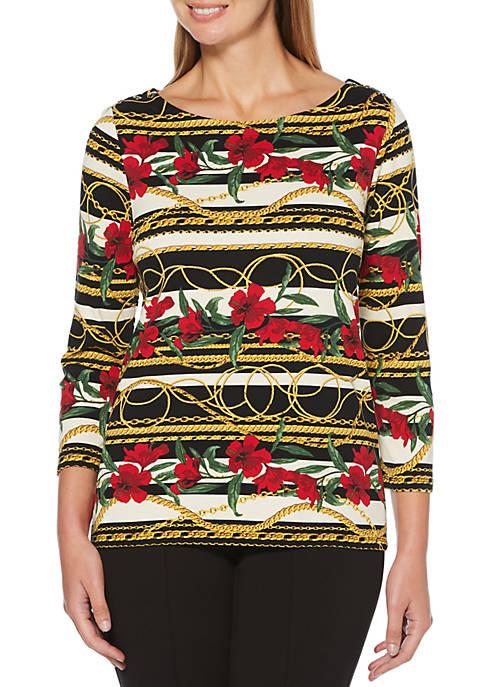 Rafaella Petite Flowers and Chains Printed T-Shirt