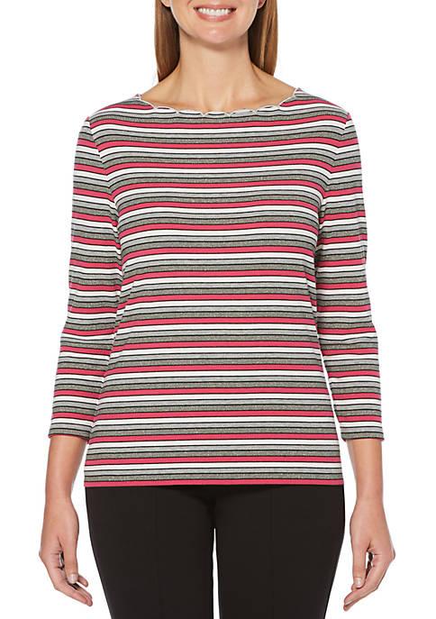 Petite Stripe Scallop Neck T-Shirt