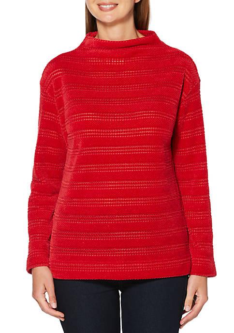 Petite Textured Stripe Chenille Sweater