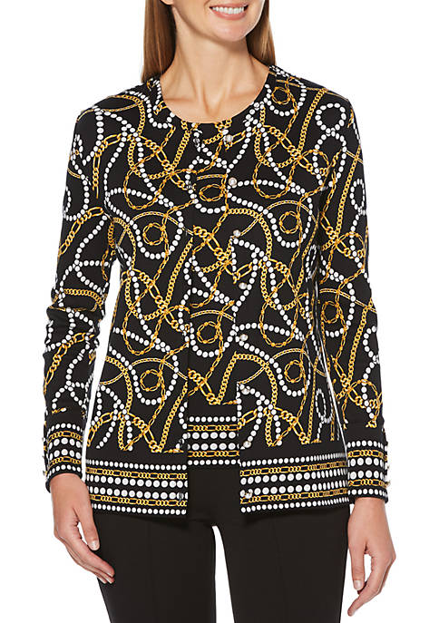Petite Pearls and Chains Printed Cardigan Set