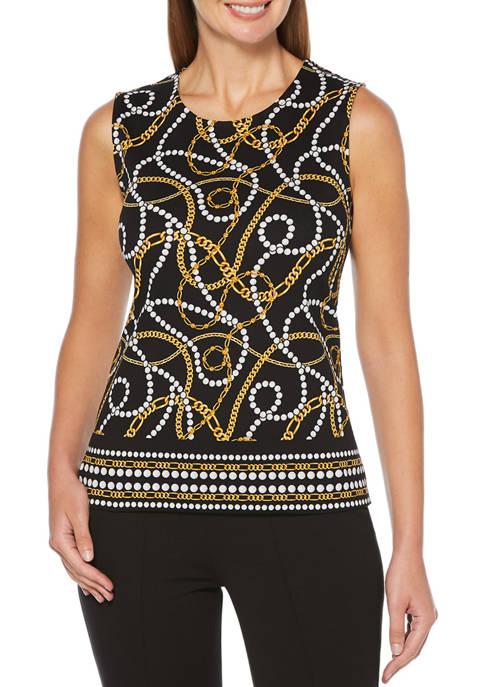 Rafaella Petite Pearls and Chains Print Top