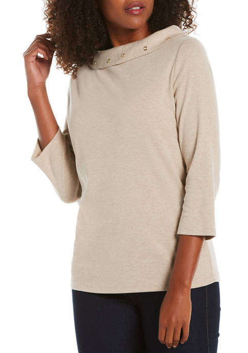 Petite Solid Boat Neck Sweater