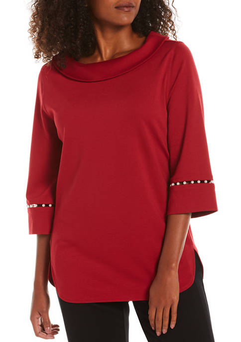 Petite Pearl Embellished Sleeve Sweater