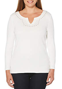 Petite Solid Knit Top