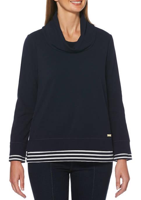 Rafaella Petite Stripe Long Sleeve Cowl Neck Top