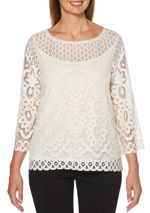 Petite 3/4 Sleeve Lace Top