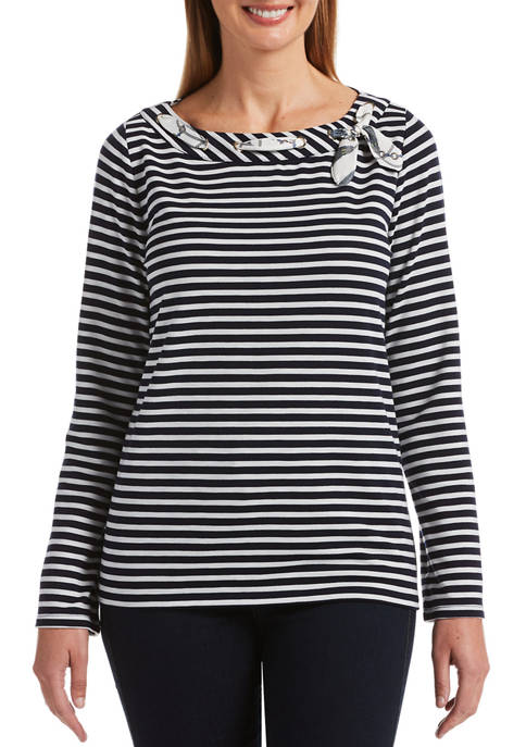 Rafaella Petite Color Stripe Long Sleeve Boat Neck