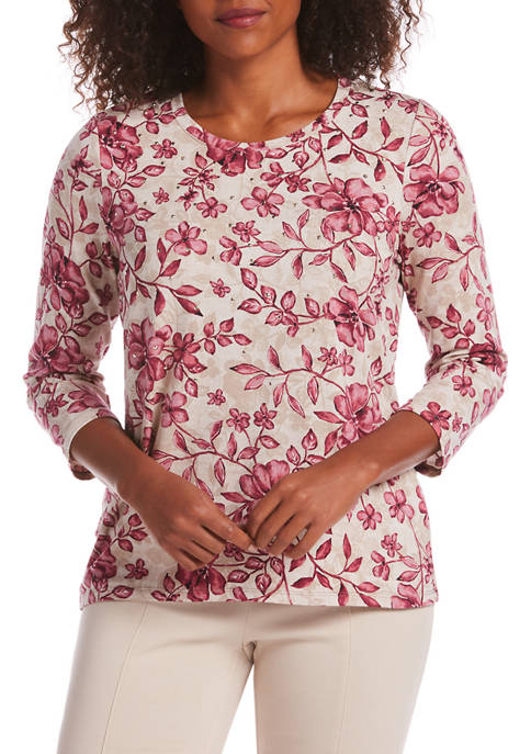 Petite 3/4 Sleeve Studded Floral Top