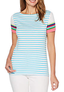 Petite Two Color Stripe Short Sleeve Tee