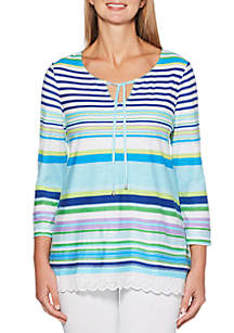 Petite Size Obscure Stripe Embroidered Tunic