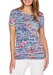 Petite Size Floral Stripe Modal Short Sleeve Tee
