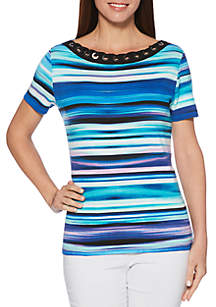 Petite Watercolor Stripe Corded Neck Short Sleeve Top