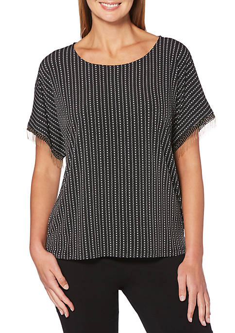 Rafaella Petite Dots And Dashes Printed Dolman Sleeve