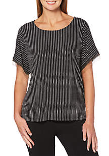 Petite Dots And Dashes Printed Dolman Sleeve Top
