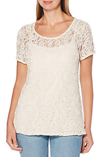 Petite Short Sleeve Corded Lace Top