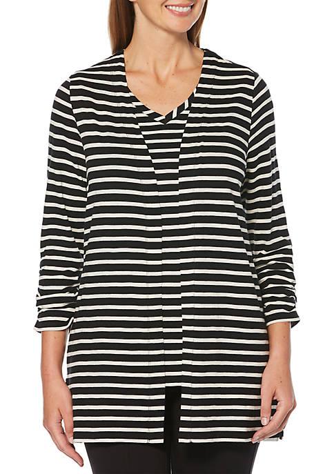 Petite Slub Knit Stripe Cardigan