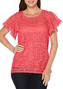 Petite Flutter Sleeve Lace Top