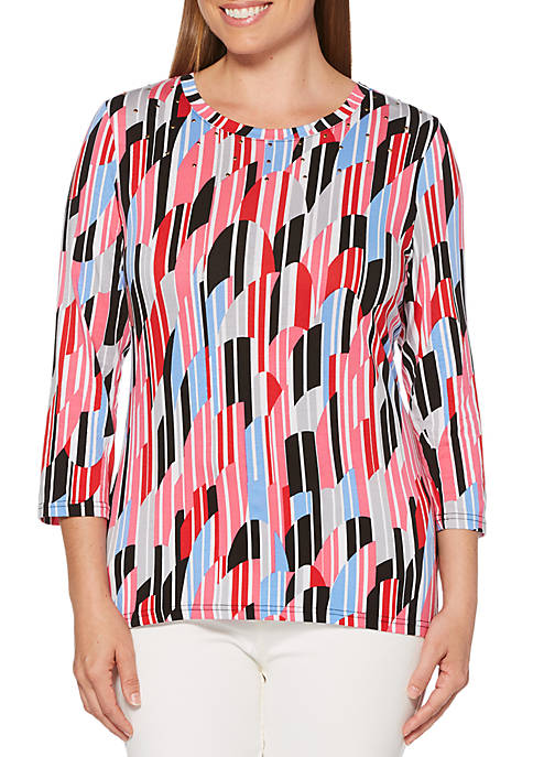Petite Embellished Modal Print Top
