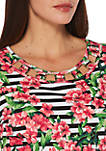 Petite Blossom Floral and Stripe Top