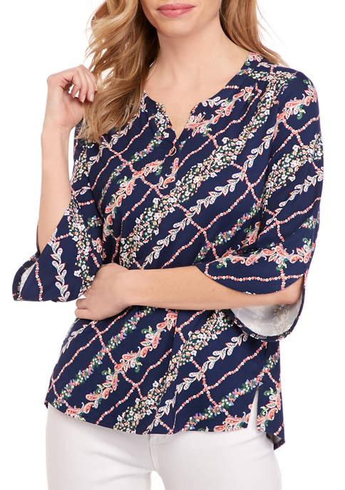 Petite Fashion Trellis Print Tunic