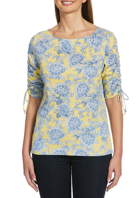 Petite Paisley Top with Side Ruch