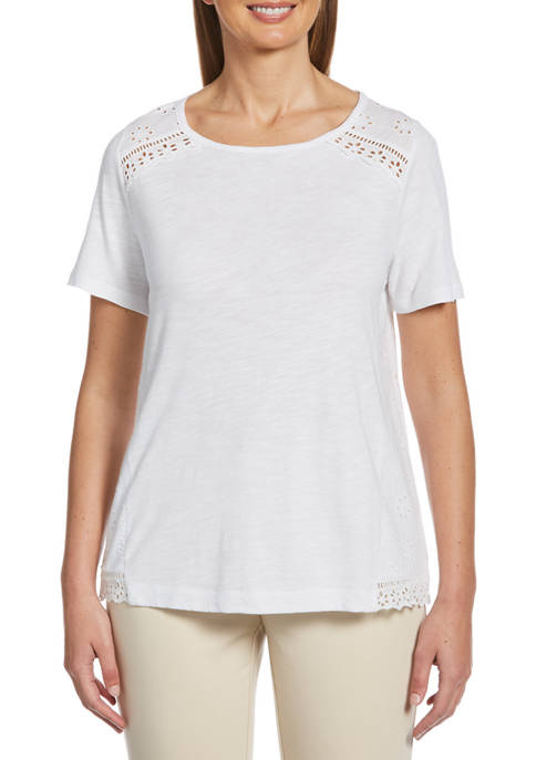 Rafaella Petite Fashion Mix Media Slub Jersey Top