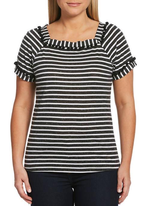 Petite Striped Short Sleeve Square Neck Top