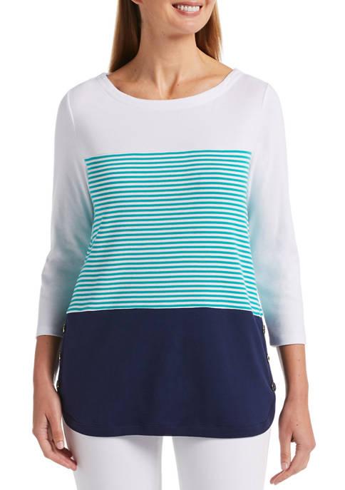 Petite Fashion Blocked Stripe Knit Top