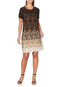 Petite Short Sleeve A-Line Leopard Dress